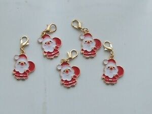 5 Stitch Markers SANTA, FATHER CHRISTMAS. Knitting, Crochet,Charms,Crafts etc