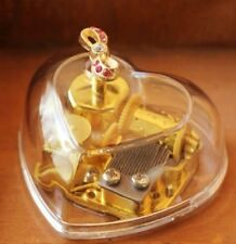 Transparent Heart Shape Ribbon Wind Up Music Box : Canon in D
