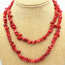 """New 5x8mm Natural Red Coral Freeform Gravel DIY Gemstone Necklace 35 """" AAA"""