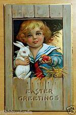 Antique Easter Postcard c1908 Cute Boy w/White Rabbit & Colored Eggs CHILD