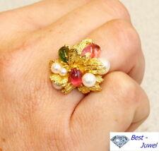 Traumhafter Blütenring von Grossé mit rosa Turmalin, Peridot u. Perlen, Gold 750