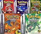 POKEMON GAMES RUBY, EMERALD, LEAFGREEN, SAPPHIRE, FIRERED GBA GAMEBOY ADVANCE DS