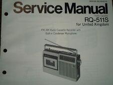 Panasonic RQ-511S RADIO REGISTRATORE A CASSETTE MANUALE SERVIZIO diagramma di cablaggio parti