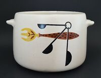 West Bend Stoneware Crock Bean Pot Utensil Holder Vintage Kitchenware