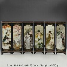 CHINA LACQUER WARE OLD HAND PAINTING BELLE COLLECTIBLES BEAUTY SCREEN NICE FOLD