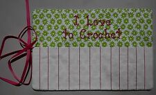 """I Love to Crochet"" Hook Holder Case Holds 13 Hooks Flannel Floral Print NEW A77"
