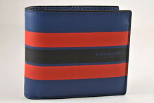 NEW Coach Men's F75399 Varsity Compact ID Leather Wallet Navy Blue & Red $175