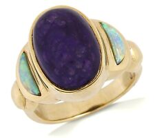 Women's Natural Sugilite & Opal Cocktail Ring in 14k SOLID Yellow Gold