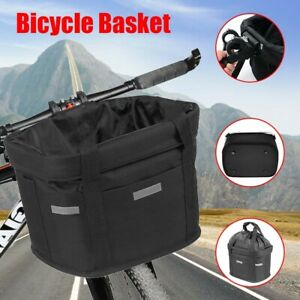Bicycle Basket Folding Bike Front Handlebar Small Pet Carrier Shopping Bag