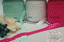 6m Mix assorted pack, SILVER FOIL POLKADOT, Elastic FOE DIY Baby Headband Kit