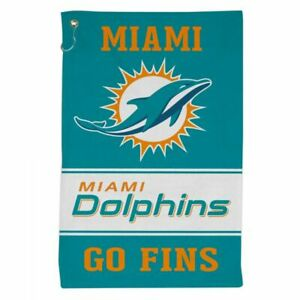 """MIAMI DOLPHINS ALL PURPOSE GOLF TAILGATE TOWEL 16""""X25"""" HOOK AND GROMMET"""