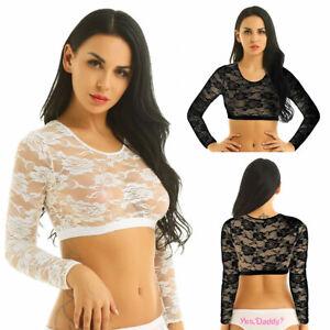 Damen Crop Top Spitzen Bauchfrei T-Shirt Langarm durchsichtig Sexy Bluse Tunika