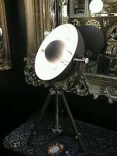 Black Tripod Floor Lamp Vintage Spotlight Silver Inner Shade 70cm H