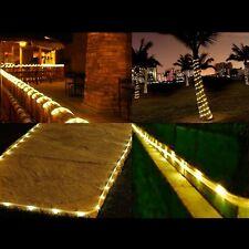 SOLAR 100 LED 12M PVC TUBE 2 MODE CHRISTMAS WEDDING ROPE LIGHTS WARM WHITE