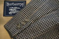 Burberry Brown Red Black Houndstooth Plaid Tweed Wool Sport Coat Jacket Sz 46R