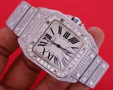 Mens Custom Cartier Santos 100 XL Watch with 22 Ct Diamonds Iced Out VIDEO DEAL