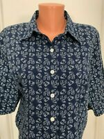 Erika petite womens blouse button lobsters crabs cotton  PL