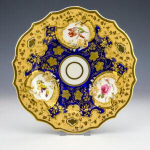 Antique English Porcelain - Cobalt Blue, Peach & Flower Decorated Gilded Plate