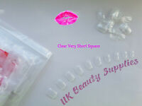 600x Very Short Square CLEAR Full Cover Glue On Acrylic False Nails - UK SELLER