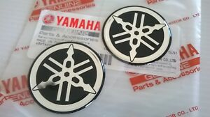 2 x 40mm YAMAHA TUNING FORK BLACK/SILVER GEL DECAL STICKER BADGE LOGO *UK STOCK*