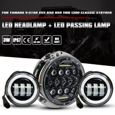 "Yamaha V-Star XVS 650 1100 1300 Classic Stryker 7"" Led Headlamp + 4.5"" Fog Lamps"