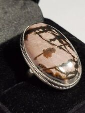 Rhodonite CABOCHON STERLING SILVER SF HIGH SETTING RING 6. US