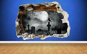 Graveyard Smashed Wall Sticker Halloween Full Colour art decal Moon Haunted