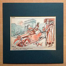 """Caricature Antisémite de RADAKOV. Feuille originale de la Revue """"KROKODIL"""" 1932."""