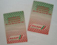 Lot of 2 Vintage Barf Bag Air sickness bag Balkan airlines Bulgarian airways