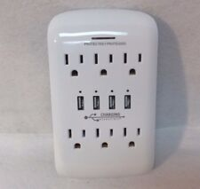 USB AC Charging Outlet with Surge Protection by Charging Essentials white - New