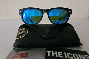 RAY BAN RB 2132 WAYFERER 622/17 Sunglasses BLUE MIRROR Lens Black Frame 52MM