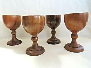 Charming Vintage Set of 4 Turned Wooden Goblets. Treen