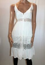 Unbranded White Lace Insert Button Front Dress Size XS BNWT #TK38