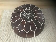 Beautiful Moroccan Leather Ottoman Pouffe Pouf Footstool In Dark Tan