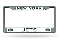 NFL New York Jets Chrome License Plate Frame Thin Green Letters