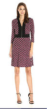 Nine West Size 16 Geometric Print Mod Dress Ruby Pink Black Collar Zipper A-Line