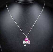 Necklace Silver With Crystal Pink Clover Ladies Jewelery Chain Gift Case N21