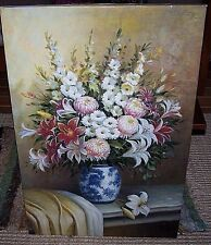 Original Fine Art Oil Painting Floral Tablescape Still Life Signed Unframed