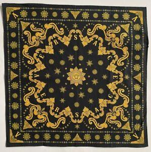 Versace Bandana Large Handkerchief Black Yellow Baroque Medusa 100% Cotton Italy