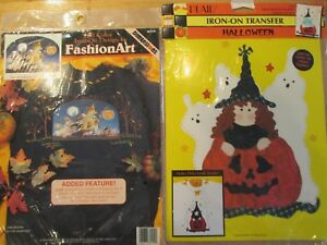 2 VINTAGE 1990's HALLOWEEN TRANSFERS LITTLE WITCHES JACK-O-LANTERN GHOSTS SEWING