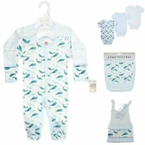 11pc baby boys starter layette set 100% cotton Whales & Waves ideal for hospital