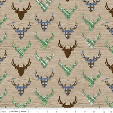 Riley Blake GREAT OUTDOORS 100% Cotton Fabric **Tan with Tartan Stag Deer**