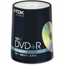 TDK Electronics Corp. DVD+R Discs, 4.7GB, 16X, 100/PK, Spindle/Silver
