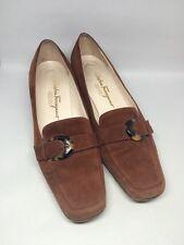 SALVATORE FERRAGAMO Brown Suede Leather Tortoise buckle Womens Pumps Shoes SZ. 8