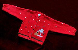 Glorimont Boutique Girls Red Christmas Sweater Sz 6 Santa Claus Snowballs