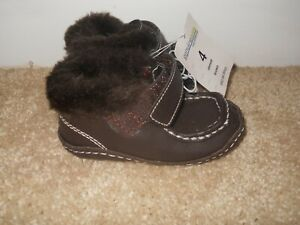 Genuine Kids OSHKOSH Toddler Boy's Leather Faux Fur Brown Boots Hook Loop Size 4