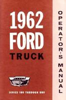 1962 Ford Truck Owners Manual User Guide Reference Operator Book Fuses Fluids
