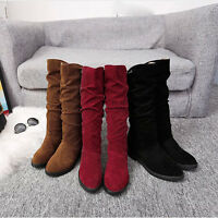 Xmas Women Ladies Winter Low Flat Heel Pull On Mid Calf Boots Stylish Shoes New