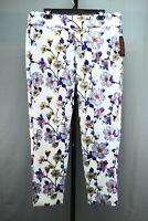 Krazy Larry P-950 Metallic Printed Full-Length Pants, Women's Size 14, White NEW