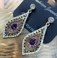New Lady Woman Elegant crystal Rhinestone long Ear Studs hoop earrings 7.5cm 731